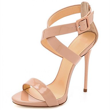 Colors of Rainbow RainbowElk Women's Sandals Summer Patent Leather Office & Career Dress Casual Party & Evening Stiletto Heel Buckle Blushing Pink, blushing pink, ()