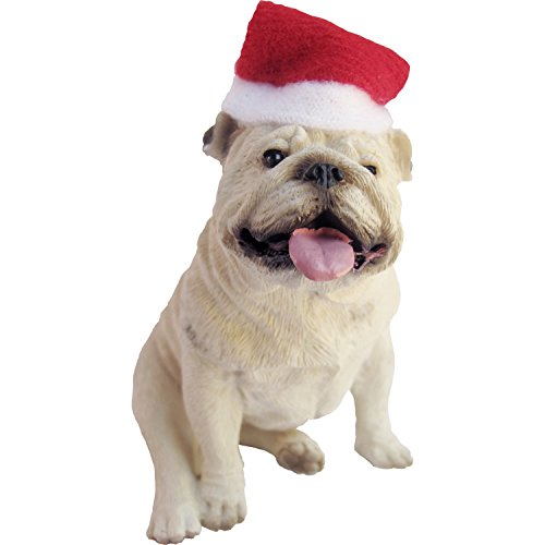 Bulldog Christmas (Sandicast White Bulldog with Santa Hat Christmas Ornament)