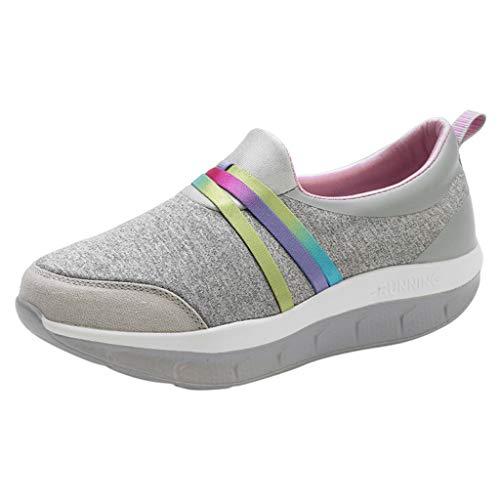 Goddessvan Women's Casual Slip On Sports Running Sneakers Thick Bottom Shake Platform Creepers Shoes Dark Gray