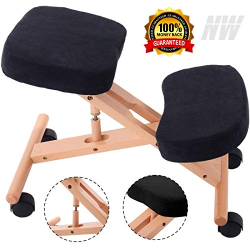 Ergonomic Kneeling Chair Wooden Adjustable - Orthopedic Back Pain Seat Stool for Home and Office, Comfortable Cushions for Better Improve Posture & Neck Pain, Helps Prevent Coccyx Pain
