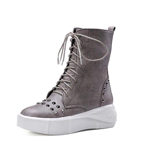 Ei&iLI Printemps des femmes / automne / hiver Bootie similicuir PU montantes lacets chaussures plate-forme Rivets moto bottes Casual Outdoor , gray , 41