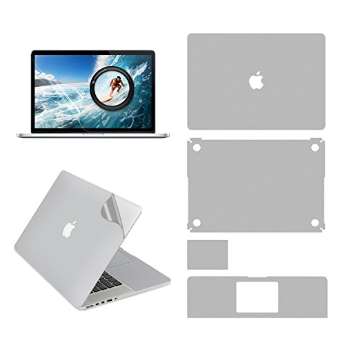 LENTION Full Body Sticker for MacBook Pro (Retina, 15-inch, Mid 2012 to Mid 2015), Model A1398, Full-Cover Protective Vinyl Decal Skin (Top / Bottom / Touchpad / Palm Rest) + Screen Protector (Silver)