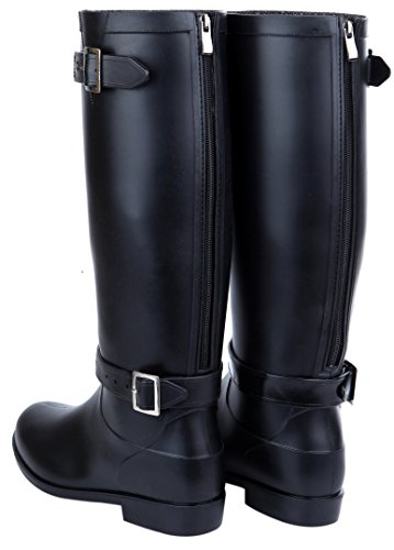 acrossa Womens Black, Wide Rain Boots with micro fiber cloth, insole (39, (Shaft Rain Boot)