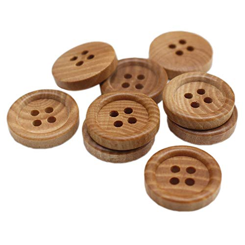 YaHoGa 50pcs 15mm (3/5 inch) Wood Buttons Small Natural Wooden Buttons for Sewing Children Sweater Crafts Bulk