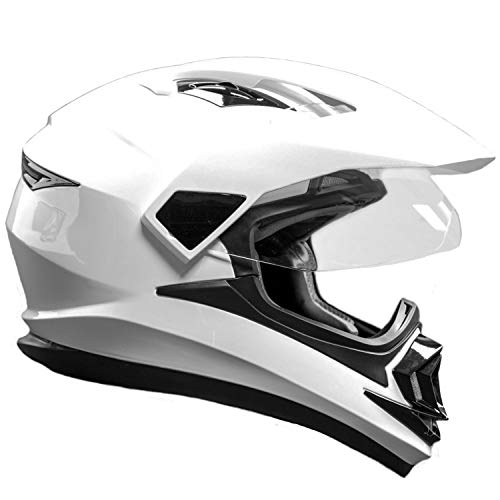 Typhoon XP14 Full Face Dual Sport Helmet Off Road UTV ATV Motorcycle Enduro - White - Large