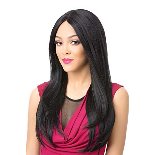 Synthetic Long Straight Hair Wigs Black Full Wig for Women Middle Part Heat Resistant Wigs Long Wigs for Black Women (a) -