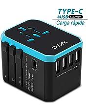 DLOPK Adaptador de Viaje Universal con 4 Puertos USB (MAX 5.6A) y 1xCargador Tipo-C 3A para US EU UK AU Japon Asia África Más de 150 Países