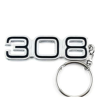 General Chrome Metal Car Key Chain Key Ring with 308 Logo: Automotive [5Bkhe1512626]