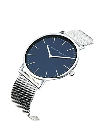 Alfred Sung Watch, Ultra Slim Mens, 41mm Silver Case, Blue Face, Silver Stainless Steel Mesh Band (AS7055SM-2A)