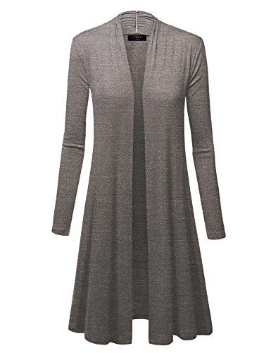 Wsk1048 Womens Solid Long Sleeve Open Front Long Cardigan S Heather Dark Grey