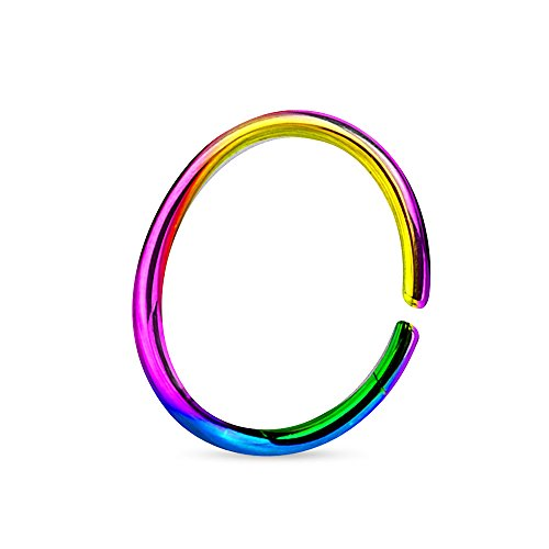 Rainbow Titanium Anodized - 16G Titanium Anodized over 316L Surgical Steel Annealed and Rounded Ends Cut Ring (White)