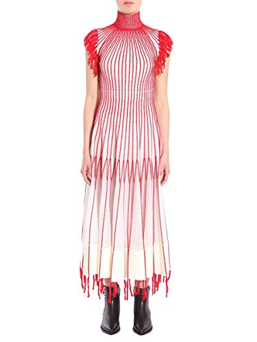 Soie Femme Mcqueen rouge Alexander Blanc Robe 493374q1whc9082 w148AqU0
