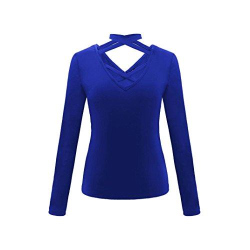 da V a con a e V maniche elegante a lunghe Blu top Camicetta t scollo donna shirt a autunno scollo S18wF16dqx