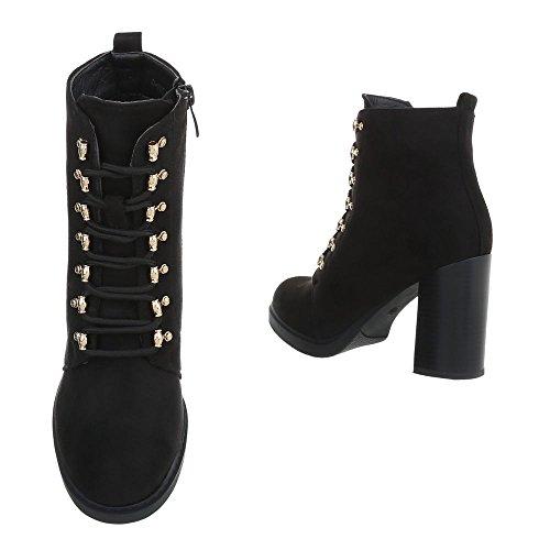 Ital-Design Schnürstiefeletten Damenschuhe Schnürstiefeletten Pump Schnürer Reißverschluss Stiefeletten Schwarz 0-195