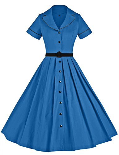 GownTown Women's 1950sVintage Classical Casual Swing A-line Dress,