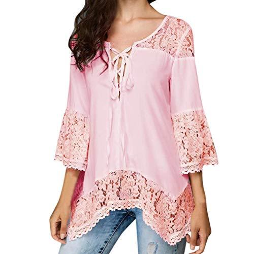 ◕‿◕ Toponly Women Chiffon Loose Three Quarter T Shirts V-Neck Tops Lace Blouse -
