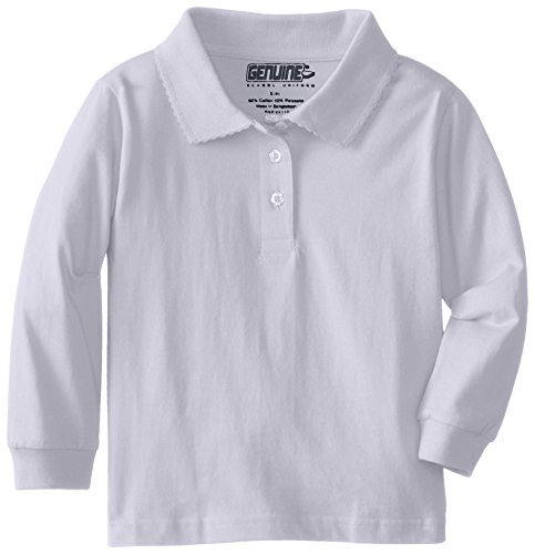 Genuine Little Girls Jersey Long Sleeve Polo with Picot Collar, White,5/6
