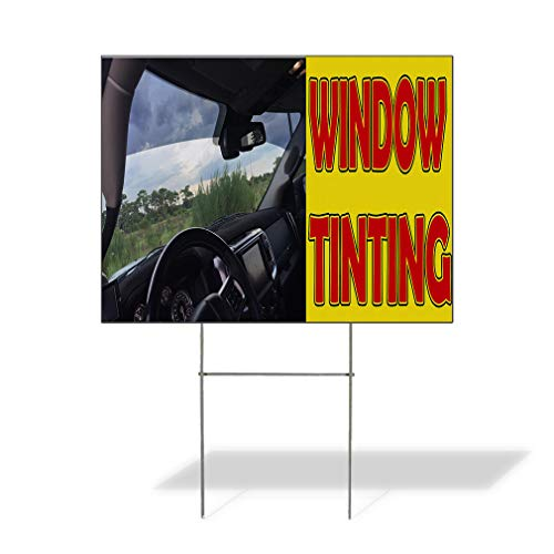 Plastic Weatherproof Yard Sign Window Tinting Black Yellow Red Car Window and Dashboard Window Installation White Car for Sale Sign Multiple Quantities Available 18inx12in One Side Print One Sign ()