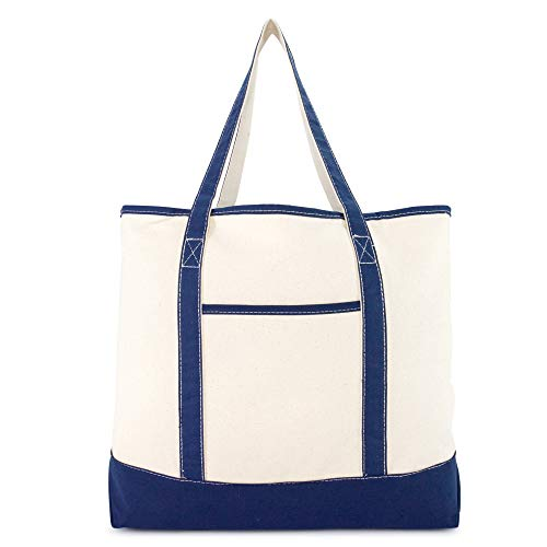 DALIX 22'' Extra Large Shopping Tote Bag w Outer Pocket in Navy Blue and Natural by DALIX (Image #2)