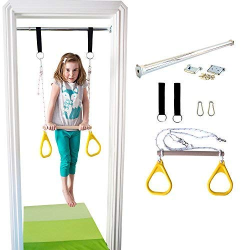 DreamGYM Doorway Gymnastics Bar | Trapeze Bar and Rings Combo | Yellow by DreamGYM (Image #2)