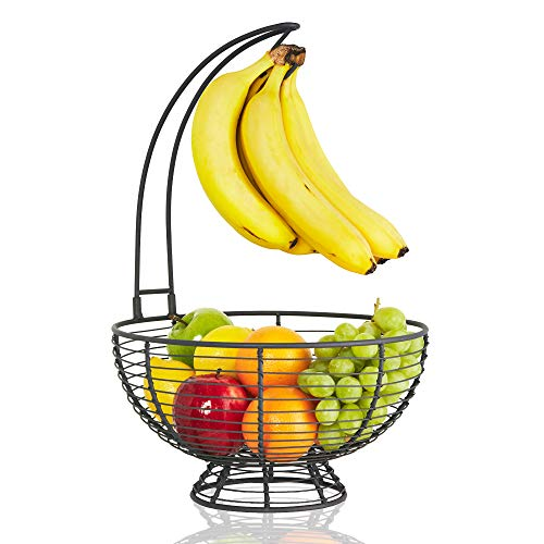 Fruit Basket With Banana Hanger - Regal Trunk Rustic French Farmhouse Fruit Bowl With Banana Tree Hangar | Vegetable and Fruit Bowl With Detachable Banana Stand | Countertop Fruit Holder Centerpiece (Rack Countertop Fruit)