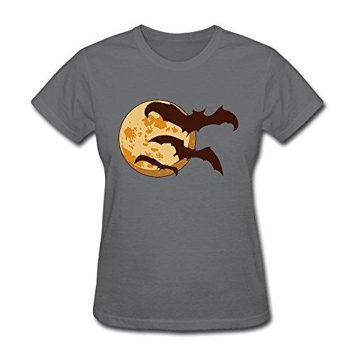 Halloween Moon Bats Ladies 100% Cotton Tshirts By Hapman1