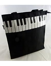 Music Themed Black Piano Key Design Zipper Hand Handle Tote Bag