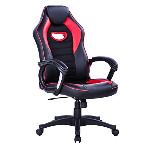 LIANFENG Racing Style High Back Leather Gaming Office Chair, Ergonomic Swivel Computer Desk Chair with Headrest and Armrest for Home and Office, Red