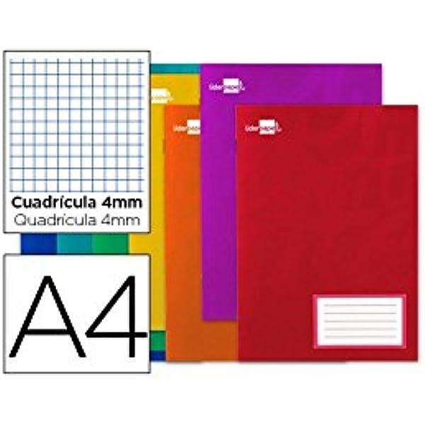 Liderpapel 24325 - Libreta A4, 32 hojas, Cuadro 4mm con margen, colores surtidos, 1 unidad: Amazon.es: Oficina y papelería
