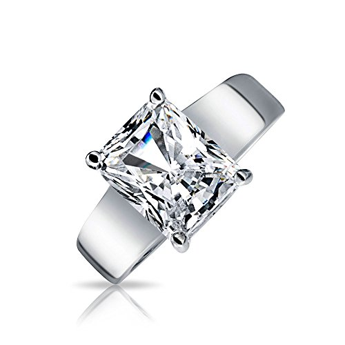 Bling Jewelry Sterling Silver 3 ct Radiant Cut CZ Solitaire Engagement Ring - Size 7 ()