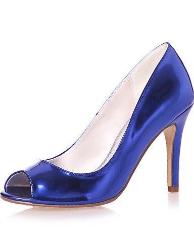 Toe Leather amp; Blue Silver Sandals Women's Evening Casual Stiletto Gold Party Silver Peep ShangYi Shoes Patent Heel Black Wedding 4qR0wxPZtP