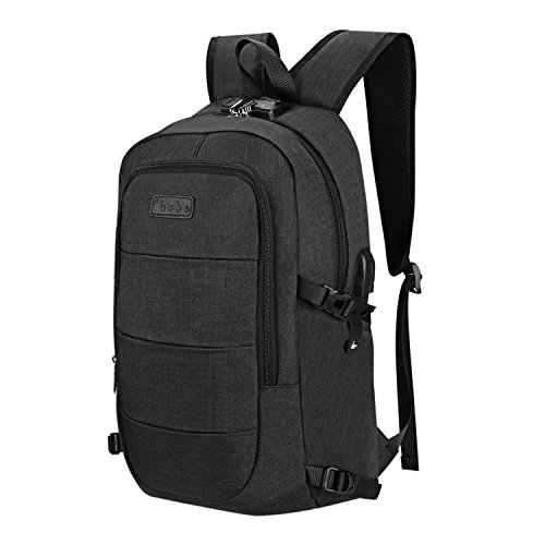 Travel Laptop Backpack - with USB and Headphone Port (15.6 Inch) Waterproof Anti-Theft Notebook Computer Bag - School College Work Gaming Men & Women (Black)