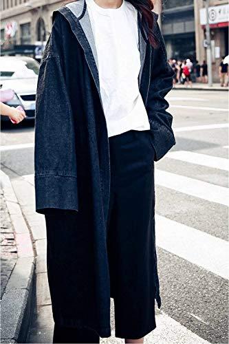 Solidi Solidi Anteriori Cappotti Nero Invernali Invernali Tasche Manica Con Lunga Colori Moda Jeans Giacca Baggy Jeans Giacche Vintage Cappuccio Donna Cappotto qC1Pwq4z