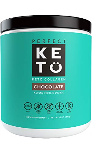 Perfect Keto Chocolate Protein Powder Collagen Peptides Grassfed Low Carb Keto Drink Supplement with MCT Oil Powder. Best as Keto Drink Creamer or Added to Ketogenic Diet Snacks. Paleo Gluten Free
