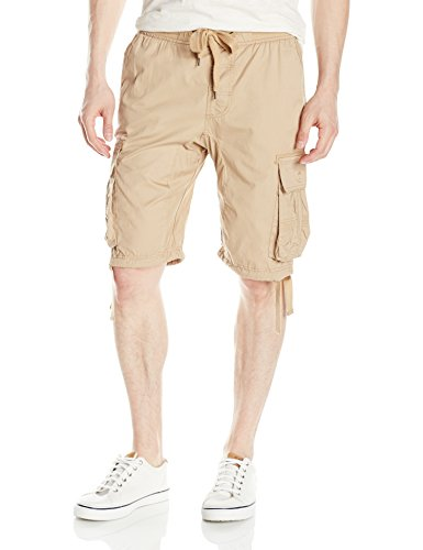 Southpole Men's Jogger Shorts with Cargo Pockets in Solid and Camo Colors, Deep Khaki(New), Small ()