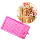 3D Bamboo Fondant Molds Bamboo Pattern Border Molds for Cake Decorating Baking Mat Gumpaste Imprint Textured Embossed Moulds Polymer Clay Molds