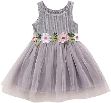 431cf7f33f Kehen Wedding Flower Girl RESS Embroidery Flowers Tulle Knitted Tutu Dresses  for Infant Baby Toddler