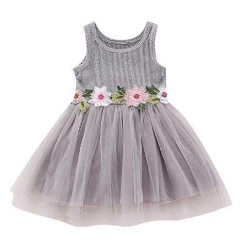 WOCACHI Toddler Baby Girls Dresses, Baby Girls Sleeveless Floral Tulle Dress Flower Princess Dresses Back to School Easter Egg Costume Parade Bunny Lily Eggs Roll Basket Mother's Day -