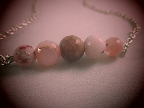 Pink Opal Necklace Peruvian Pink Opal Silver Necklace Opal Faceted Rondelles Bar ()
