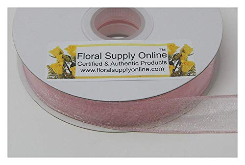 #3 Monofilament Edge Sheer Organza Ribbon for Floral, Fashion, Craft, Scrapbooking, Gift Wrapping, Hair Bows, Wedding, Baby Shower, and Decorating Projects. (5/8 Inch x 25 Yard, Pink) ()