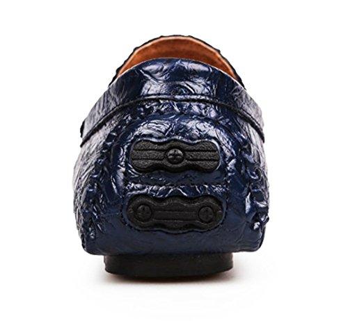 Tda Mens Moda Classica Slip On Stitching Pelle Guida Affari Penny Mocassini Scarpe Blu