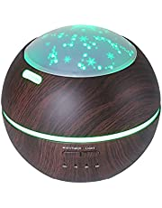 TOMNEW 150ML Essential Oil Diffuser Kids Room Ultrasonic Aromatherapy Diffuser Mini Aroma Humidifier Wood Grain Waterless Auto Shut-Off 7 Color LED Lights Changing for Home Office Baby (Dark Wood)