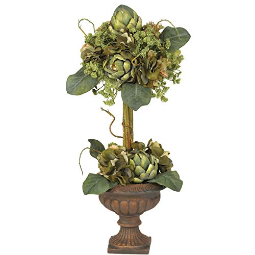 (GREATHOPES Artichoke Topiary Silk Flower Arrangement Green Home Decoration Flowers)