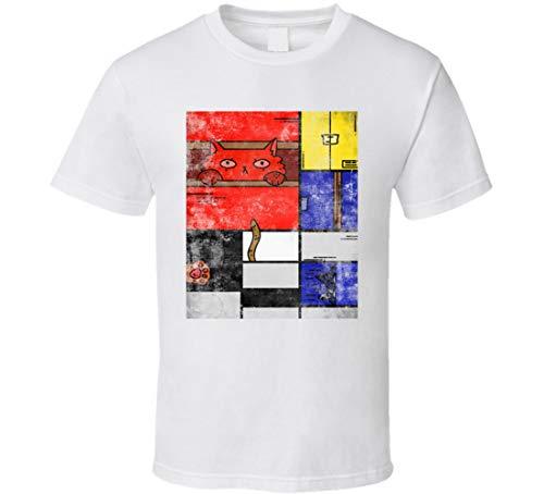 ABC123 Mondrian Squares - Camiseta de cuadros famosos con diseno de gato, color blanco Negro Negro