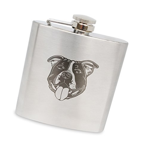 MODERN GOODS SHOP Stainless Steel Flask With Staffordshire Bull Terrier Engraving - 6 Oz Alcohol Flask For Men And Women - Made In The USA ()