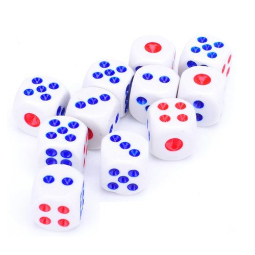 5 X White Dice with Red & Blue Dots Club Bar Party Play Games Entertainment Tool 10mm (Club Casino Dice)