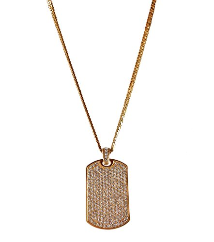 - J.Shine Iced Out Hip-hop Mini Dog Tag Gold Tone Stainless Steel Pendant Necklace for Men & Cuban Chain 30