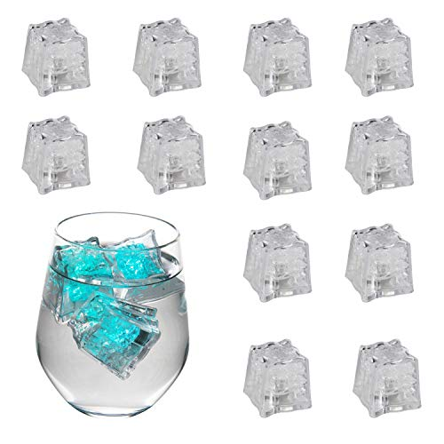 "Houseables LED Ice Cubes, Blinking Light Up Cube, 1""x1.3"", 12 Pack, Multi Color, Plastic, Flashing Switch Decorations For Drinks, Glow In The Dark, Novelty For Cocktails, Parties, Bars, Lounges, Pubs ()"