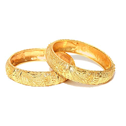 Jewels Galaxy Premium Quality Florets Design Traditional Broad Gold Plated Bangles Set for Women/Girls - Set of 2 2.6 Gold