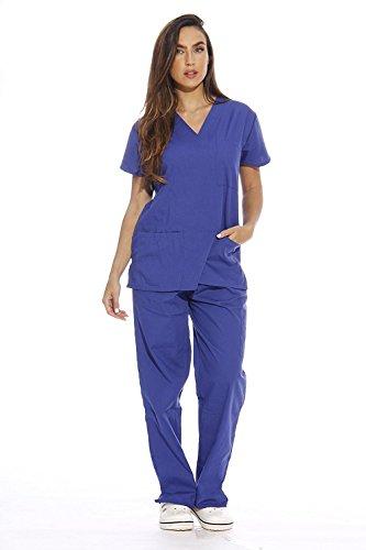 Royal Unisex V Neck Scrubs Set Medical Uniform - Nursing Scrubs For Both Men & Woman Top & Pants included In Each Set (Navy Blue, Small)